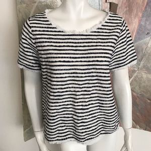 Green Envelope Blue White Striped Blouse SZ Large